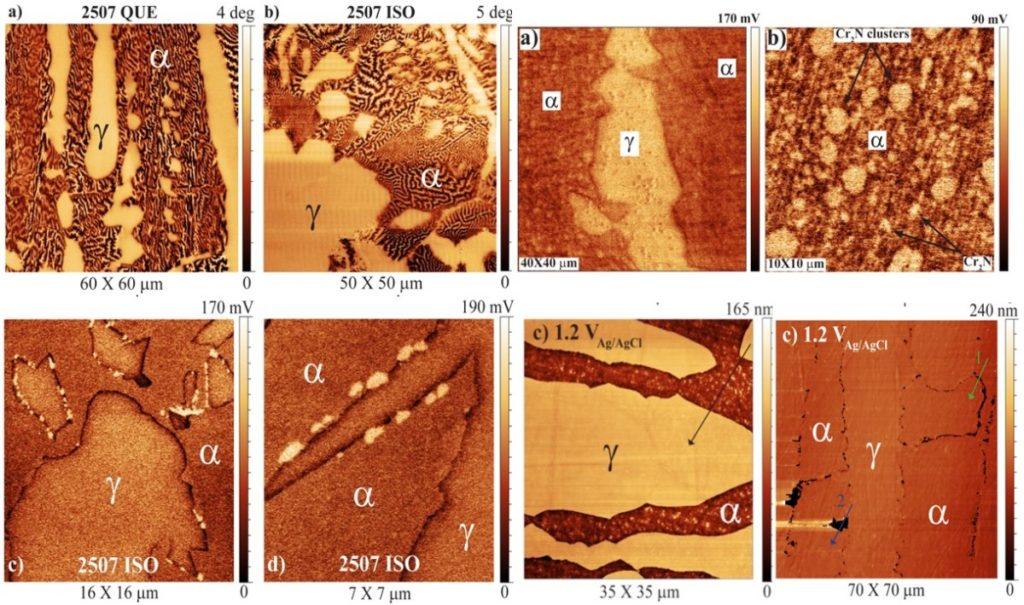 Ex-situ AFM (two top left) MFM images showing ferr